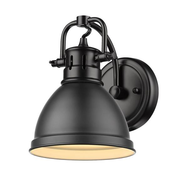 Duncan Collection Black 1-Light Bath Sconce Light with Matte Black Shade