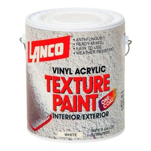 lanco 1 gal vinyl acrylic white interior exterior texture paint st600 4 the home depot