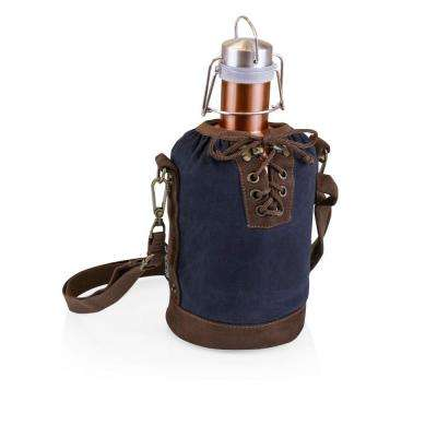 Navy and Brown Insulated Growler Tote with 64 oz. Copper Stainless Steel Growler