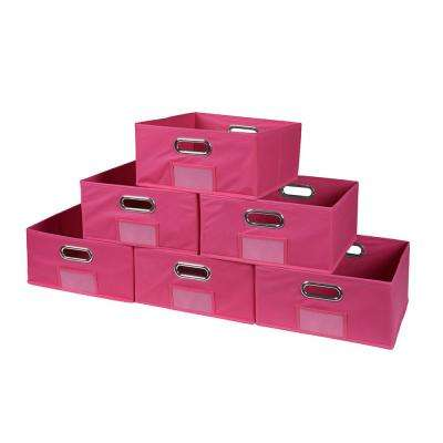 Cubo 12 in. W x 6 in. H Pink Folding Fabric Bin (6-Pack)