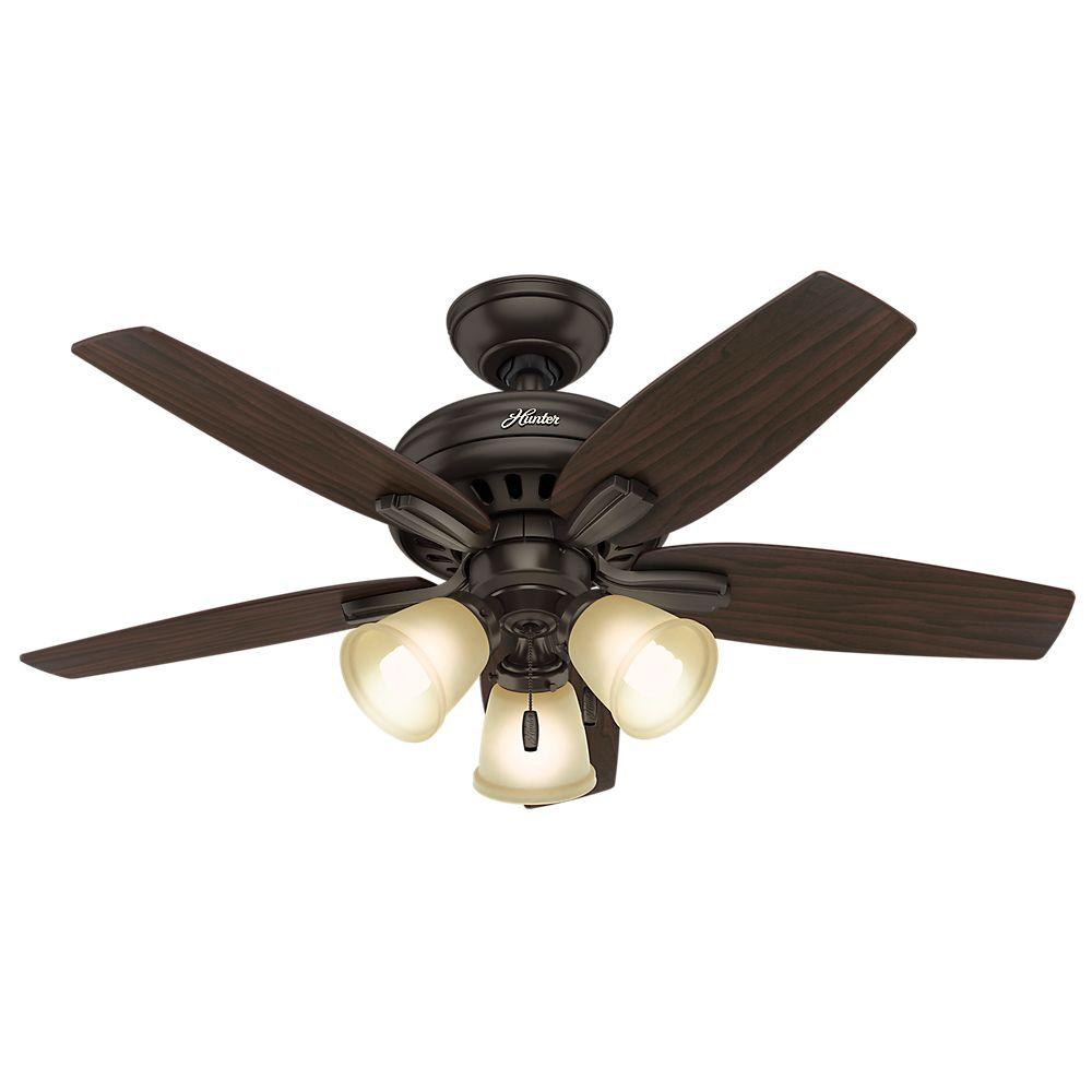 Hunter Newsome In Indoor Premier Bronze Ceiling Fan With Light - Kitchen light and fan