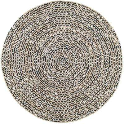 Glinda Natural Fiber Jute Black 8 ft. x 8 ft. Round Rug
