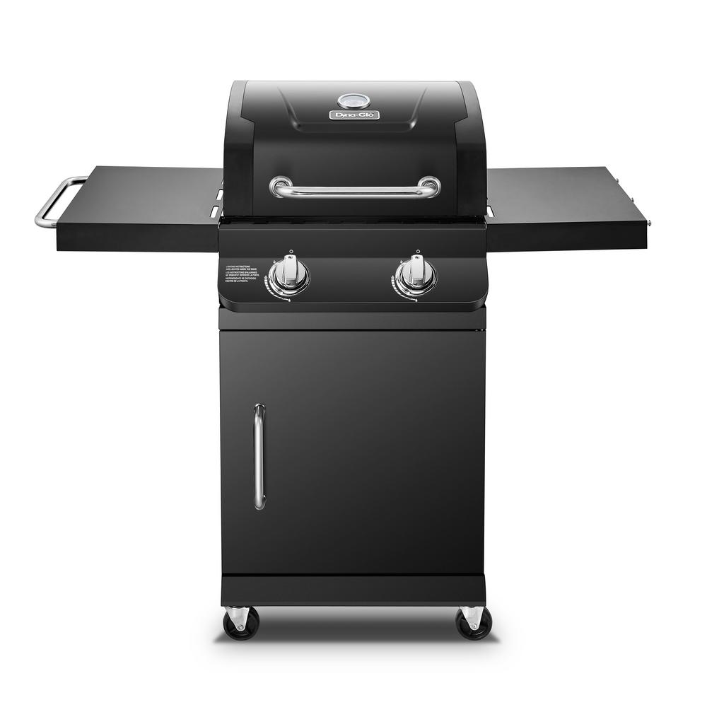 Dyna-Glo Premier 2-Burner Propane Gas Grill with Folding Side Tables in Black