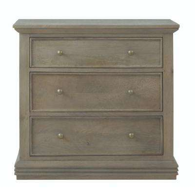 Aldridge 3-Drawer antique grey Nightstand