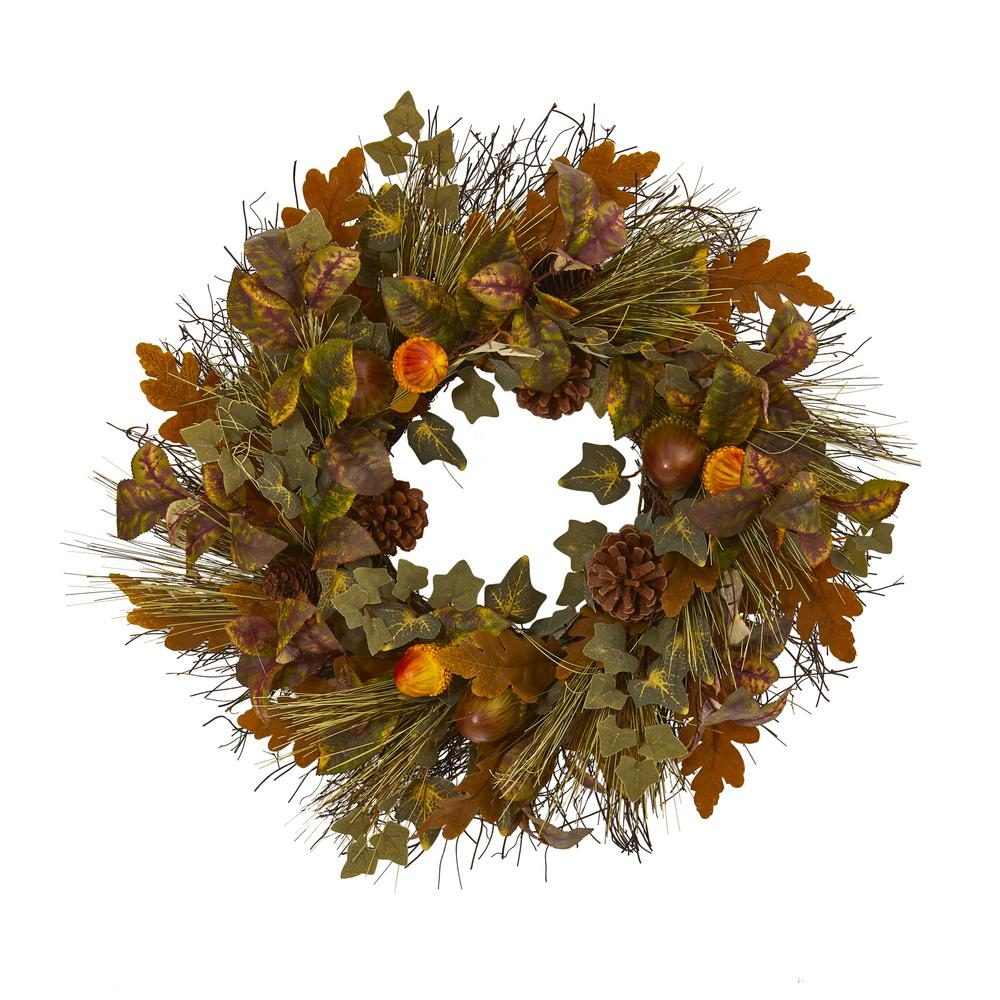 Nearly Natural 23 in. Mixed Fall Leaf Pinecone and Acorn Artificial Wreath