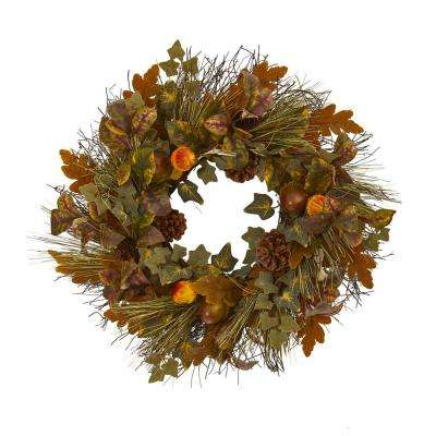 23 in. Mixed Fall Leaf Pinecone and Acorn Artificial Wreath