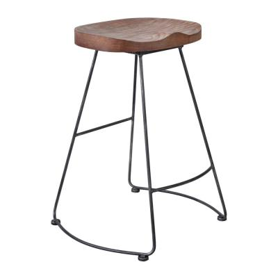 Claudia 26 in. Silver Brushed Gray with Rustic Brown Wood Seat Barstool