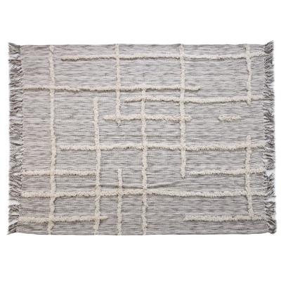 Linework 50 in. x 60 in. Gray/Natural Decorative Throw Blanket