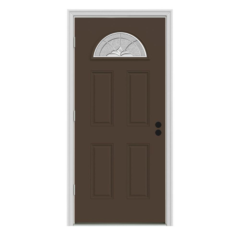 Jeld wen 32 in x 80 in fan lite langford dark chocolate for 8 lite exterior door