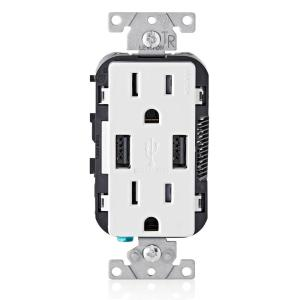 3.6A USB Dual Type A In-Wall Charger with 15 Amp Tamper-Resistant Outlets, White