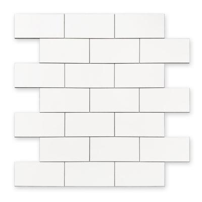 DIP White Subway Tile 12 in. x 12 in. Self-Adhesive PVC Backsplash