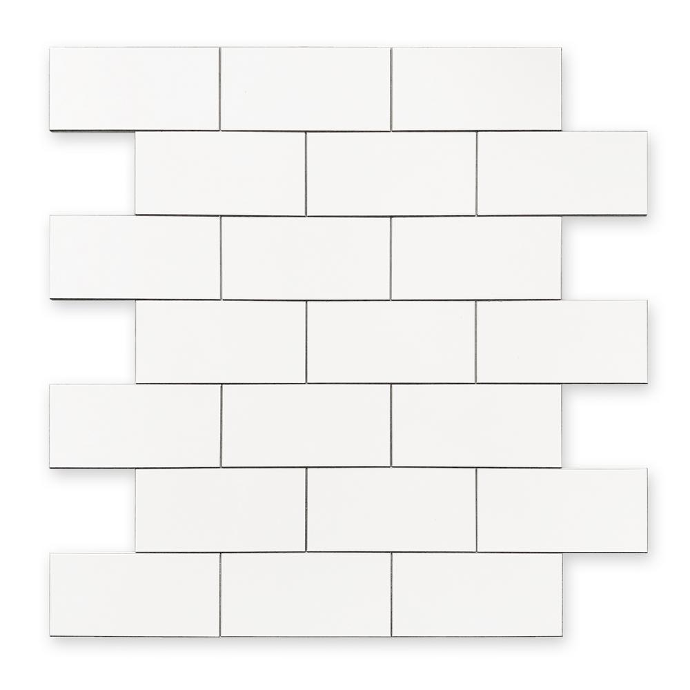 DIP White Subway Tile 12 in. x 12 in. Self-Adhesive PVC Backsplash