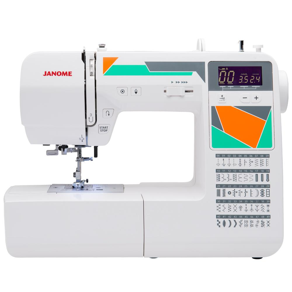 MOD-50 Computerized Sewing Machine with 50-Stitches, White The MOD-50 sewing machine has 50 built-in stitches, including 3 one-step buttonholes, making it the perfect tool for you to utilize your creative abilities. Get a fresh start on sewing modern garments, home decor and quilts. All seven products in the MOD line ensure that your projects are conquered with power, precision and confidence. Convenience Features like the start/stop button, easy reverse lever and locking stitch ensure that your projects are completed with ease. Professional-level features like the 7-piece feed dog system and the specialty needle plate allow you to produce precise results. Four presser feet and more accessories ensure that you have all the tools you need to get stitching! Color: White.