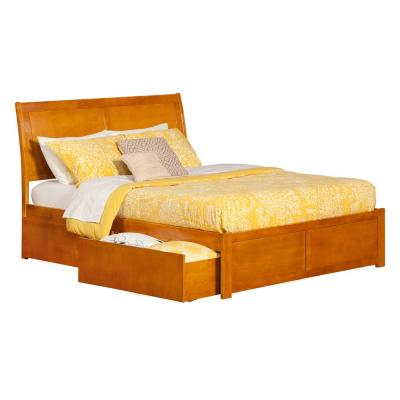 Portland Caramel Latte King Platform Bed with Flat Panel Foot Board and 2 Urban Bed Drawers