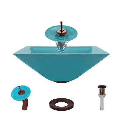 Glass Vessel Sink in Cerulean with Waterfall Faucet and Pop-Up Drain in Oil Rubbed Bronze
