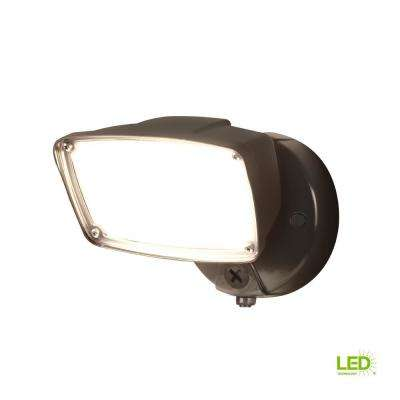 FSL Single Head Bronze Outdoor Integrated Dusk to Dawn LED Flood Light with Selectable Color Temperature