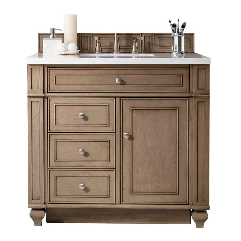 James Martin Signature Vanities Bristol 36 In W Single Vanity Whitewashed Walnut With Solid