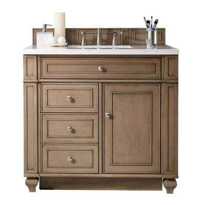 Bristol 36 in. W Single Bath Vanity in Whitewashed Walnut with Solid Surface Vanity Top in Arctic Fall with White Basin
