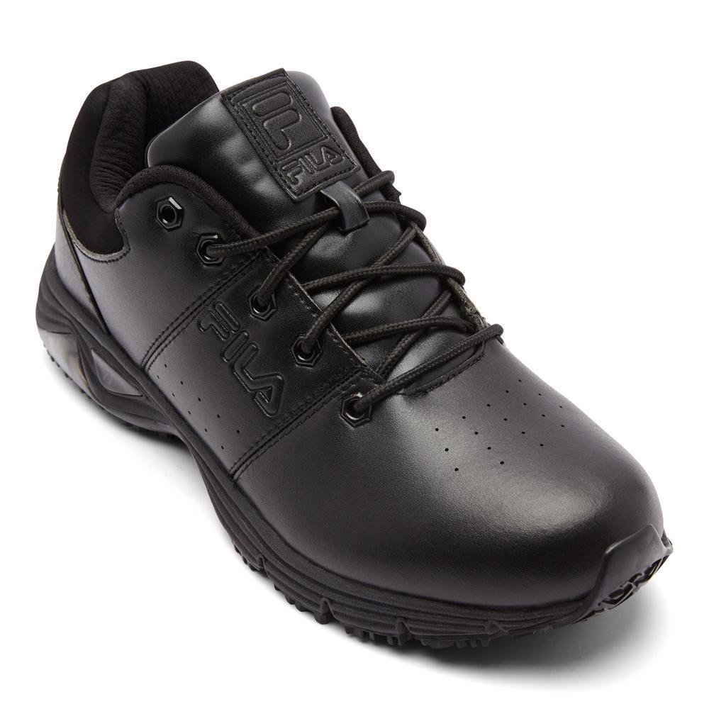 Fila Men's Memory Breach Low Slip Resistant Oxford Shoes Soft Toe BLACK Size 8(M)