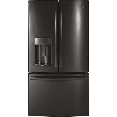 35.75 in. W 22.1 cu. ft. French Door Refrigerator with Hands Free Autofill in Black Stainless Steel, Counter Depth