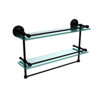 22 in. L  x 12 in. H  x 5 in. W 2-Tier Clear Glass Bathroom Shelf with Towel Bar in Matte Black