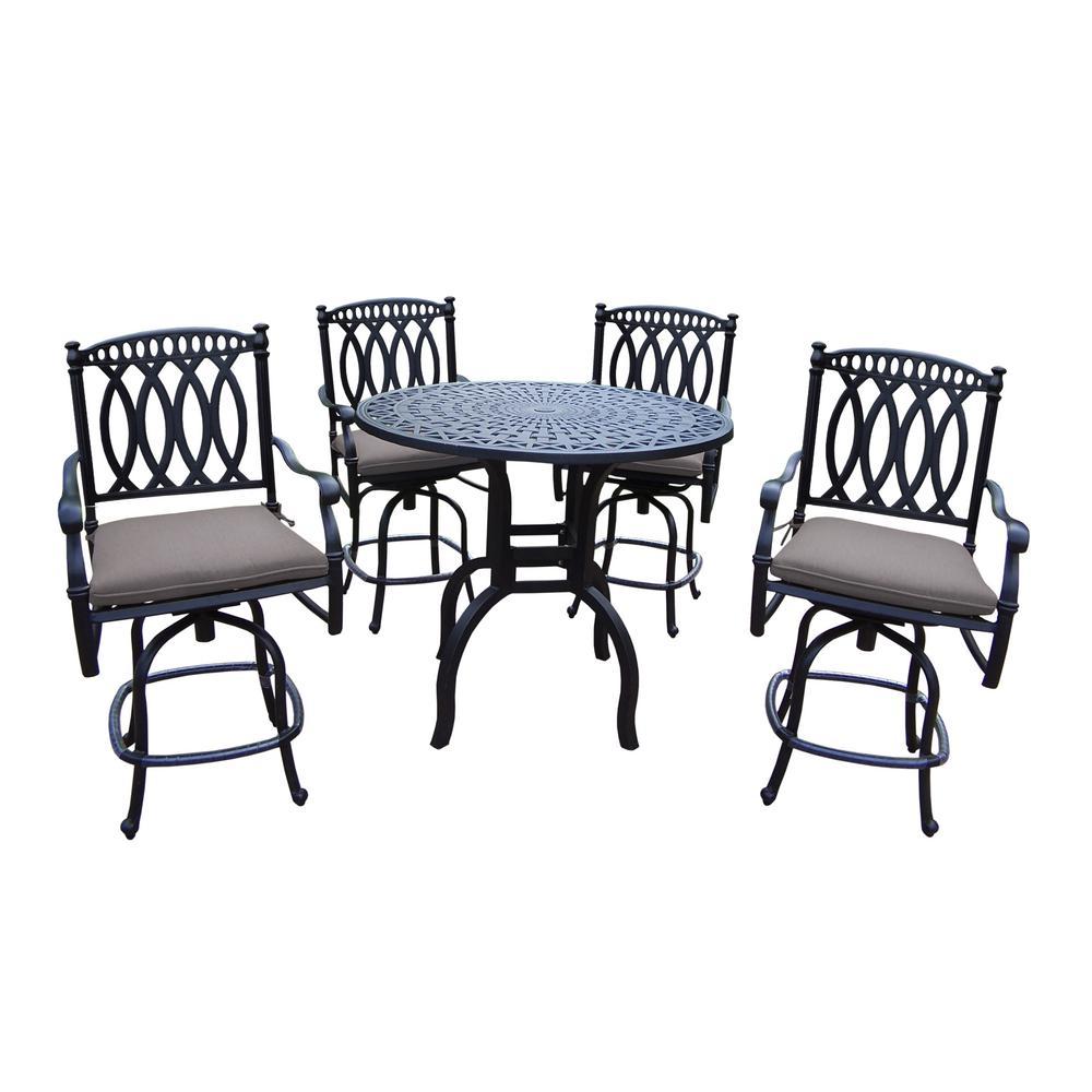 Morocco Aluminum 5-Piece Outdoor Bar Height Dining Set with Sunbrella Beige Cushions