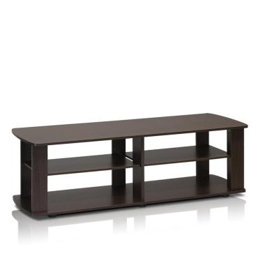 THE 43 in. Dark Brown Particle Board TV Console Fits TVs Up to 37 in. with Open Storage