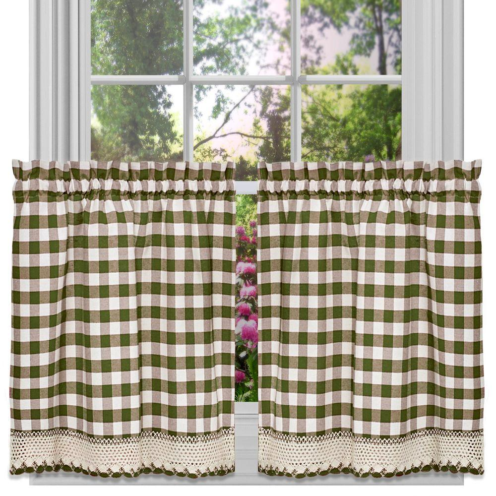 Semi-Opaque Buffalo Check Sage Rod Pocket Tier Pair with Macrame Trim