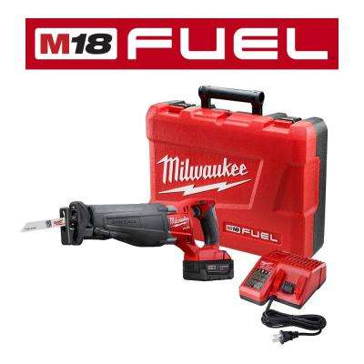 M18 FUEL 18-Volt Lithium-Ion Brushless Cordless SAWZALL Reciprocating Saw Kit with (1) 5.0Ah Batteries, Charger and Case