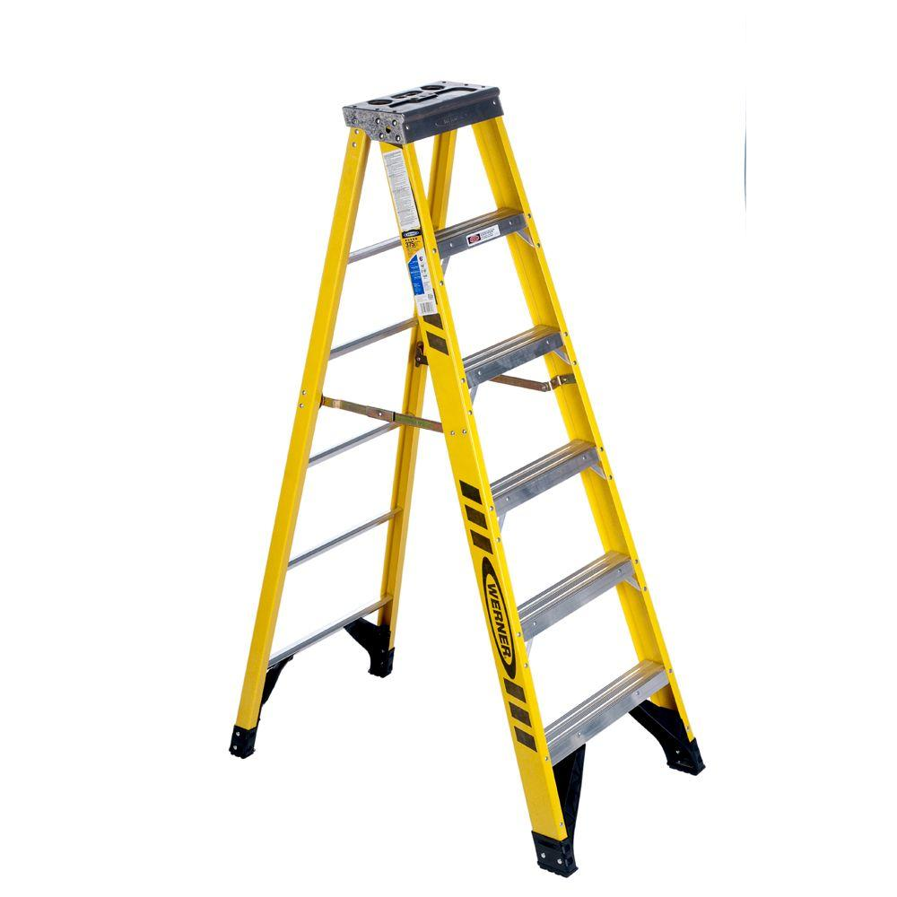 Werner 6 Ft Fiberglass Single Sided Step Ladder With 375 Lbs Load Capacity Type Iaa Duty Rating 7306 The Home Depot