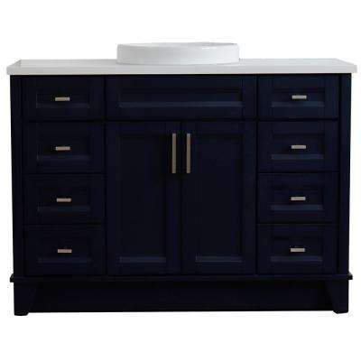 49 in. W x 22 in. D Single Bath Vanity in Blue with Quartz Vanity Top in White with White Round Basin