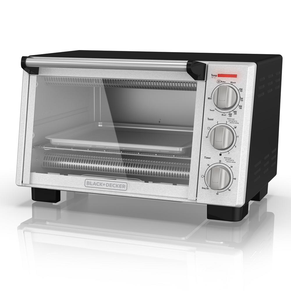 6-Slice Convection Silver Toaster Oven, Black