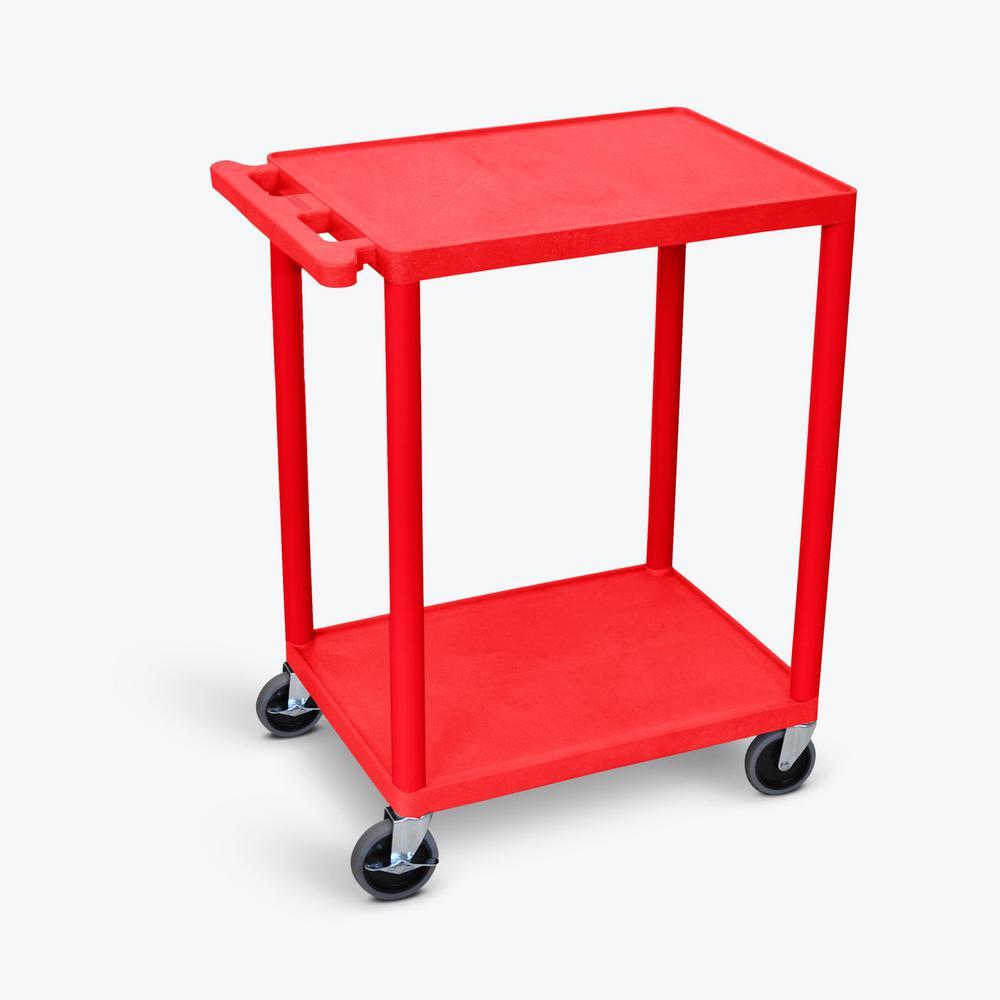 HE, 24 in. W x 18 in. D x 33.5 in. H, 2-Shelf Utility Cart in Red
