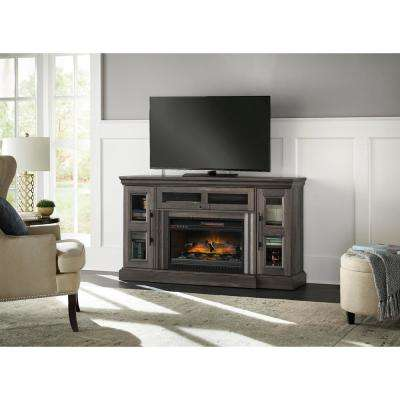 Abigail 60in  Media Console Infrared Electric Fireplace in Gray Aged Oak Finish