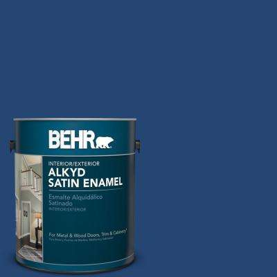 1 gal. #S-H-580 Navy Blue Satin Enamel Alkyd Interior/Exterior Paint