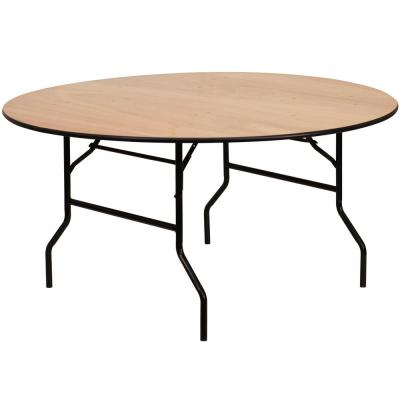 60 in. Natural Wood Tabletop Metal Frame Folding Table