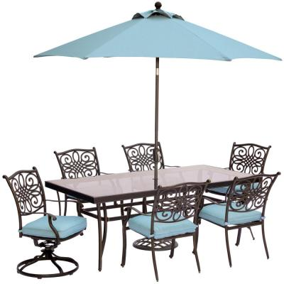 Traditions 7-Piece Outdoor Dining Set with Rectangular Glass Table, 2 Swivels, Umbrella and Base with Blue Cushions