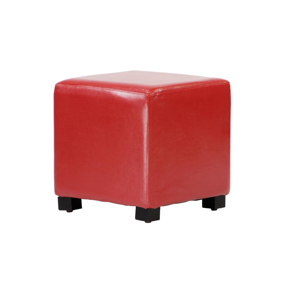 Lux Home Tyler Red Faux Leather Ottoman Cube