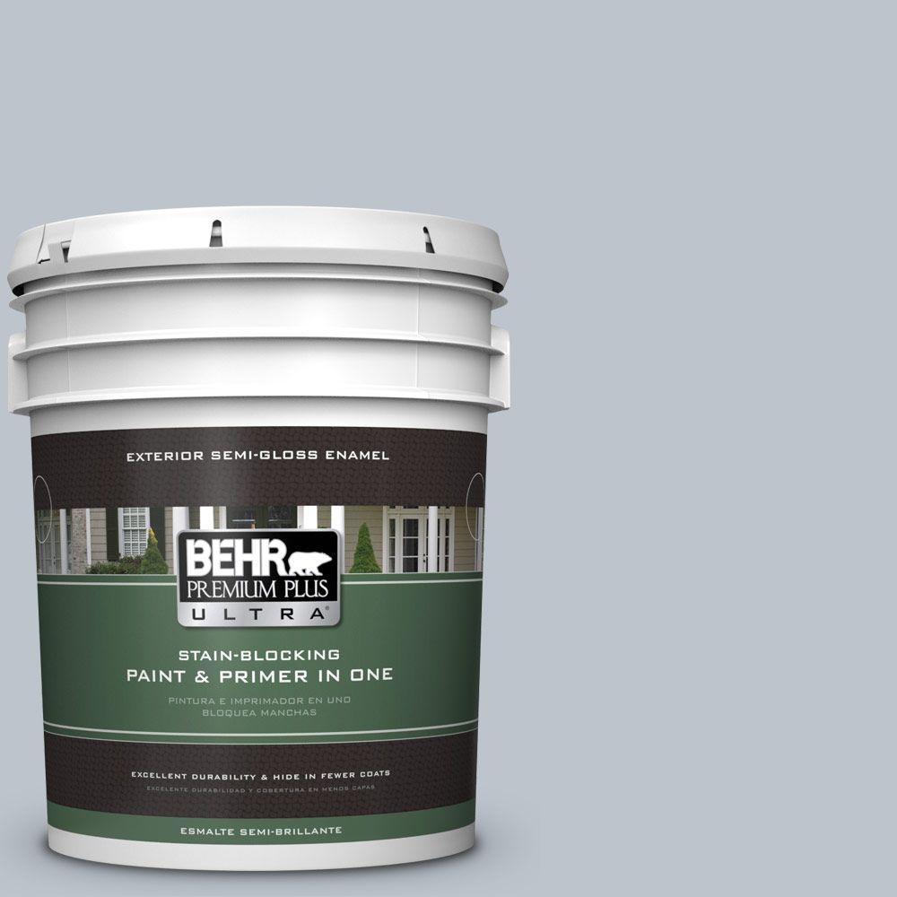 BEHR Premium Plus Ultra 5-gal. #N490-2 Icicles Semi-Gloss Enamel Exterior Paint