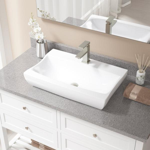Mr Direct Porcelain Vessel Sink In White With 720 Faucet And Pop Up Drain In Brushed Nickel V2302 W 720 Bn The Home Depot