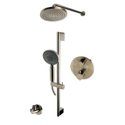 1-Spray Dual Showerhead and Handheld Showerhead with Temperature Control in Brushed Nickel