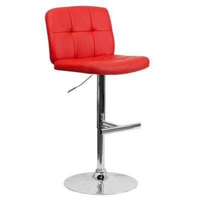 34 in. Adjustable Height Red Cushioned Bar Stool