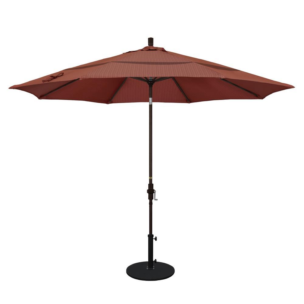 11 ft. Aluminum Collar Tilt Double Vented Patio Umbrella in Terrace Adobe Olefin