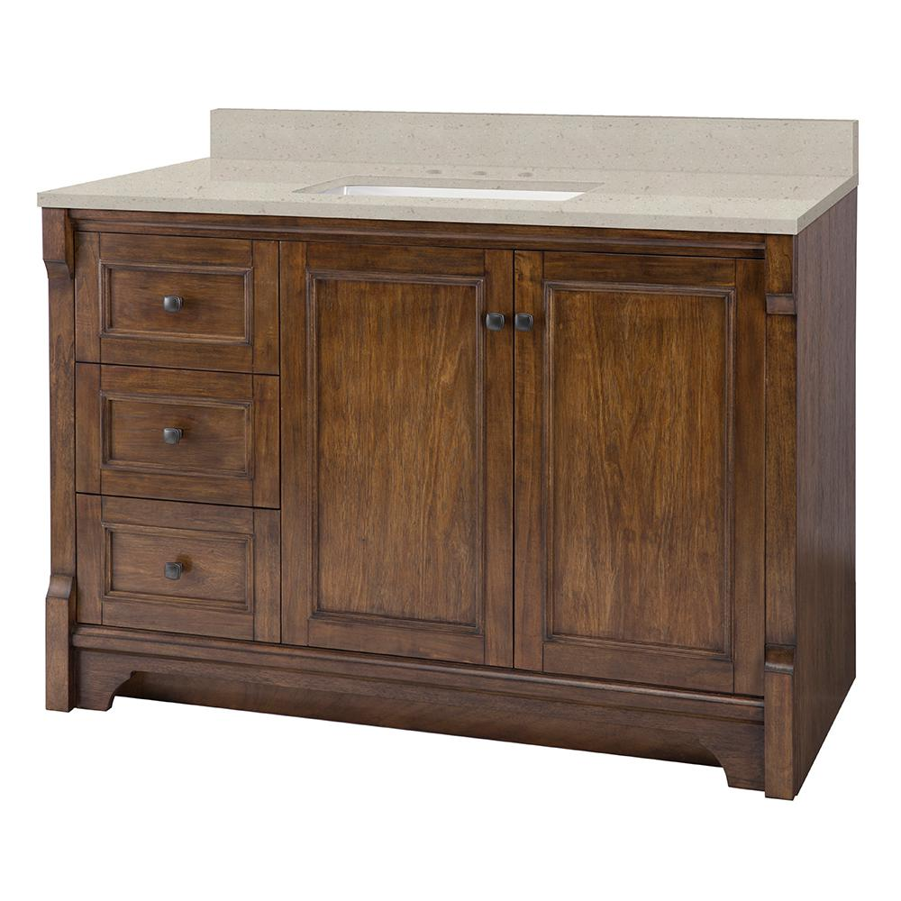 Home Decorators Collection Creedmoor 49 in. W x 22 in. D Vanity in Walnut with Engineered Quartz Vanity Top in Stoneybrook with White Sink