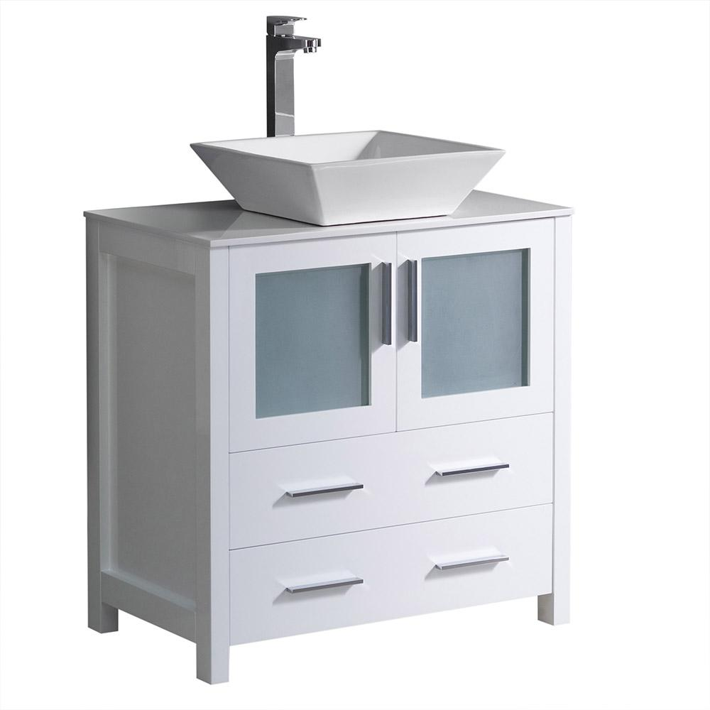 Fresca Torino 30 in. Bath Vanity in White with Glass Stone Vanity Top in White with White Basin