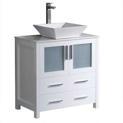 Torino 30 in. Bath Vanity in White with Glass Stone Vanity Top in White with White Basin