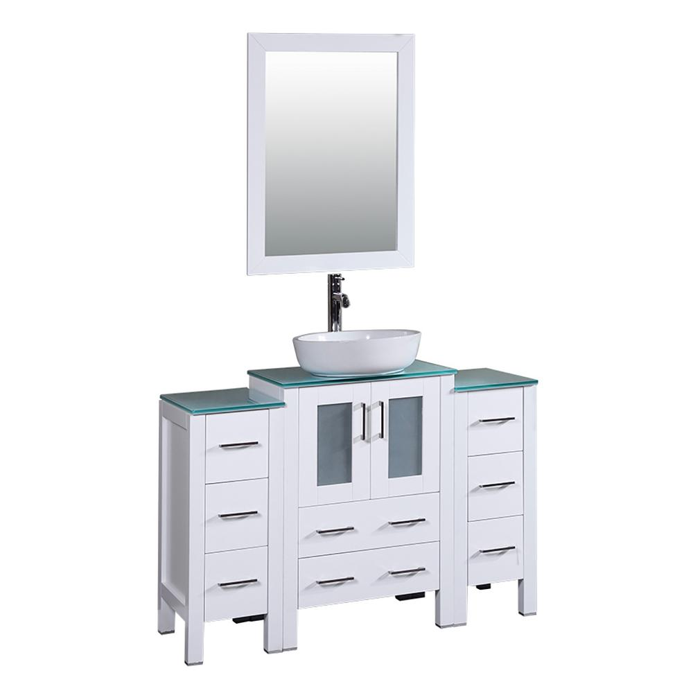 Bosconi 48 in. W Single Bath Vanity in White with Tempered Glass Vanity Top with White Basin and Mirror
