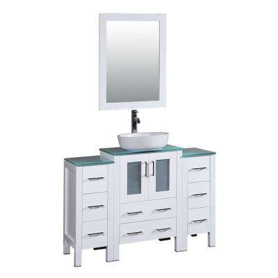 48 in. W Single Bath Vanity in White with Tempered Glass Vanity Top with White Basin and Mirror