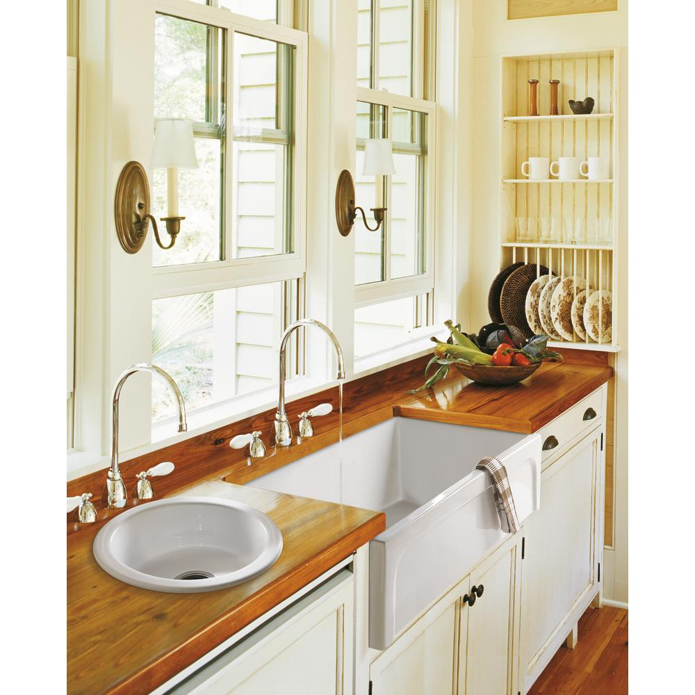 Barclay Products Granville Farmhouse Apron Front Fireclay 30 in. Single  Bowl Kitchen Sink in White