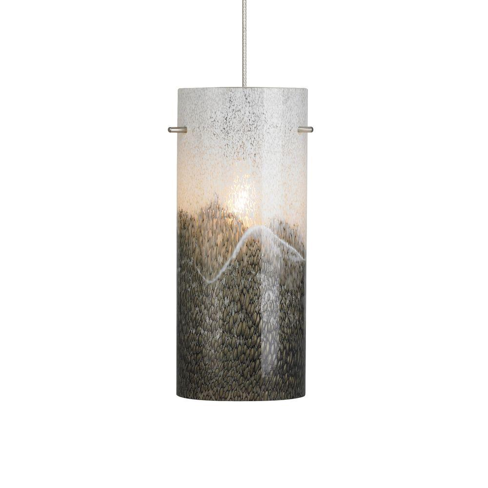 LBL Lighting Mini-Dahling 1-Light Satin Nickel LED Mini Pendant with Gray-Opal Shade